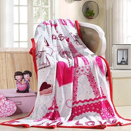 Romantic Heart-shape Print Fluffy Warm Flannel Blanket