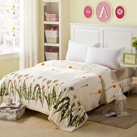 Graceful Fresh Flying Dandelion Print Beige Blanket
