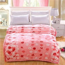 Lovely Pink and White Flowers Printing Raschel Blanket