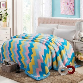 Colorful Broken Line Stripe Design Top Class Raschel Blanket