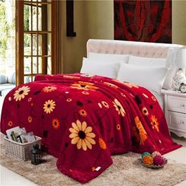 Small Flowers Printing Fiery Red Raschel Blanket