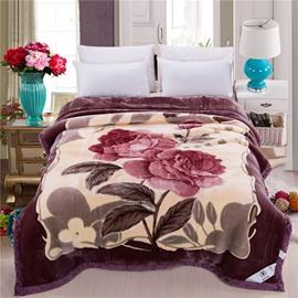 Two Red Flowers Printing Super Fluffy Raschel Blanket