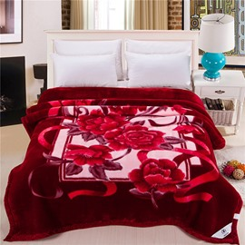 Plush Raschel Blanket with Graceful Red Flowers Printing