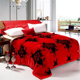 Top Class Exquisite Jacquard Red Raschel Blanket
