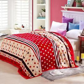 Lovely Polka Dots Stripe Print Polyester Blanket