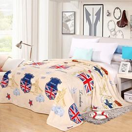 The Union Jack Print Beige Flannel Blanket