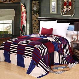 Plaid Stripes Cute Mustache Design Flannel Blanket