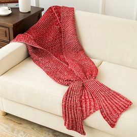 Knitting Warm and Soft Mermaid Red Blanket