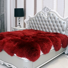 Fancy and Cozy Sheepskin Vibrant Red Blanket