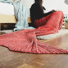 Extra Large Comfy Knitted Mermaid Tail Orlon Blanket