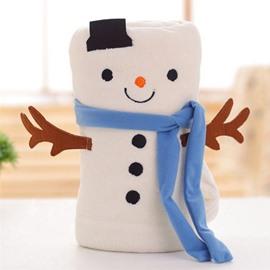 Lovely Christmas Snowman Design Soft Coral Blanket