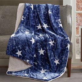 Retro Style Star Print Navy Blue Blanket