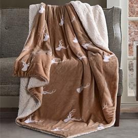 Popular Reindeer Print Camel Soft Flannel Blanket
