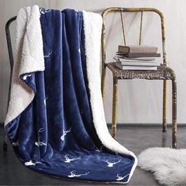 Wonderful Reindeer Print Navy Blue Flannel Blanket