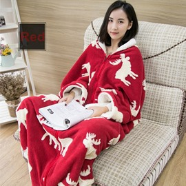 Festive Red Christmas Reindeer Print Blanket With Sleeves