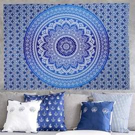 Gradient Light Blue Mandala Pattern Ethnic Style Wall Tapestries