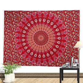 Red Mandala Pattern Ethnic Style Wall Tapestries