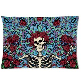 Skull and Red Rose Pattern Exotic Style Wall Tapestries