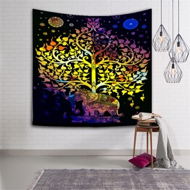 Colorful Elephants and Trees Exotic Style Hanging Wall Tapestries