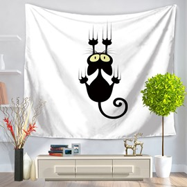 Frightened Black Cat Climbing Toward Pattern Hanging Wall Tapestries
