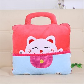 Lovely Cat with Big Smile Design Dual-Use Portable Throw Pillow /Blanket