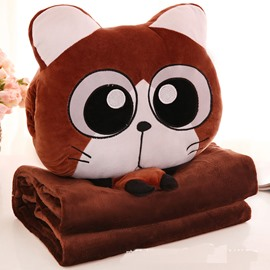 Brown Cat with Big Eyes Design Dual-Use Throw Pillow/Blanket