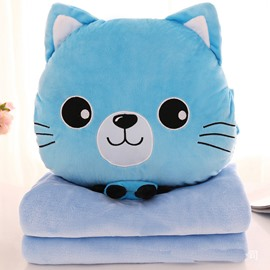 Light Blue Cat with Big Eyes Design Dual-Use Throw Pillow/Blanket