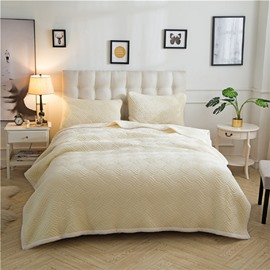Solid Beige Knot Pattern Super Warm Fluffy Thick Bed Blanket