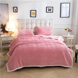 Solid Pink Knot Pattern Super Warm Fluffy Thick Bed Blanket