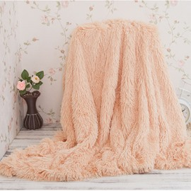 51x63in Solid Beige Long Shaggy Chic Fuzzy Faux Fur Throw Blankets