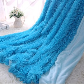 Princess Style Solid Bright Blue Soft and Fluffy Double Layer Throw Blanket