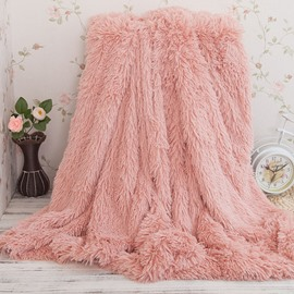 51x63in Solid Peachy Beige Long Shaggy Chic Fuzzy Double Layer Throw Blanket