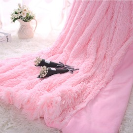 Princess Style Solid Pink Soft and Fluffy Double Layer Throw Blanket