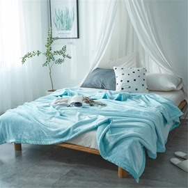 Solid Sky Blue Super Soft Coral Fleece Bed Blankets