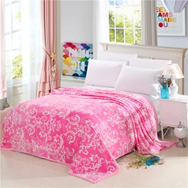 White Floral Scrolls Pattern Pink Flannel Bed Blankets