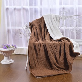 47x71in Solid Brown Super Soft and Reversible Fuzzy Knitted Throw Blankets