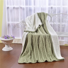 47x71in Solid Sage Green Super Soft and Reversible Fuzzy Knitted Throw Blankets