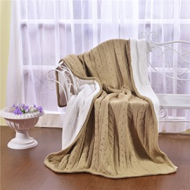 47x71in Solid Camel Super Soft and Reversible Fuzzy Knitted Throw Blankets