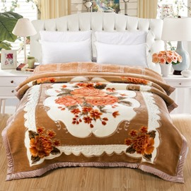 Orange Flowers Printed Super Soft Plush Flannel Thick Bed Blankets