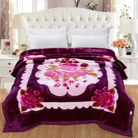 Gorgeous Flowers Printing Purple Plush Flannel Fleece Thick Bed Blankets