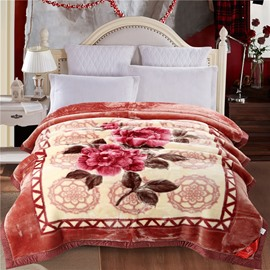 Gorgeous Flowers Printed Brown Yellow Plush Flannel Fleece Thick Bed Blankets