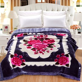 Pretty Flowers Blooming Printed Gorgeous Plush Flannel Fleece Bed Blankets