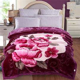 Pink Peonies Blooming Printed Dark Purple Plush Flannel Fleece Bed Blanket