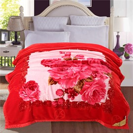 Bright Red Roses Blooming Printed Plush Flannel Fleece Bed Blanket