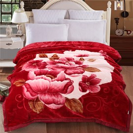 Red Peonies Flowers Blooming Printed Burgundy Flannel Fleece Bed Blanket