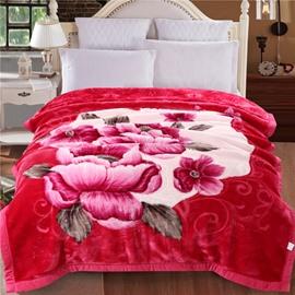 Pink Peonies Blooming Printed Rose Red Plush Flannel Fleece Bed Blanket