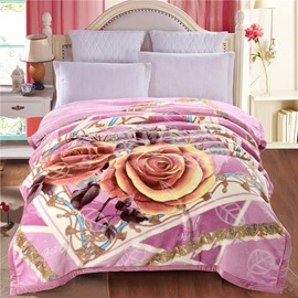Yellow Roses Blooming Printed Purple Plush Flannel Fleece Bed Blanket