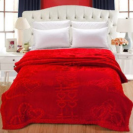 Chinese Wedding Letters Pattern Red Embroidery Flannel Fleece Bed Blankets