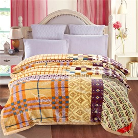 Plaid and Grid Cream Embroidery Flannel Fleece Bed Blankets