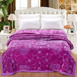 Flowers and Heart Shape Design Purple Embroidery Flannel Fleece Bed Blankets